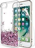 LeYi Funda iPhone 7/8 Silicona Purpurina Carcasa con HD Protectores de Pantalla,Transparente Cristal Bumper Telefono Gel TPU Fundas Case Cover para Movil iPhone 7/8 ZX Oro Rosa