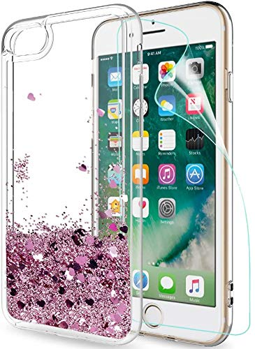 LeYi Funda iPhone 7/8 Silicona Purpurina Carcasa con HD Protectores de Pantalla,Transparente Cristal Bumper Telefono Gel TPU Fundas Case Cover para Movil iPhone 7/8 ZX Oro Rosa