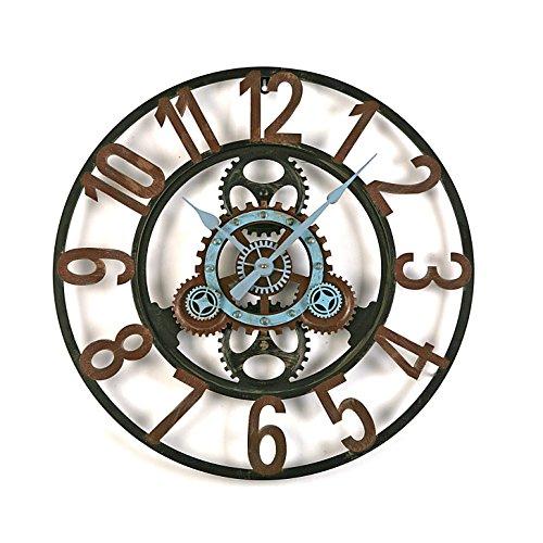 Versa London Horloge Murale Silencieuse pour la Cuisine, Le Salon, la Salle à Manger ou la Chambre, Dimensions (H x l x L) 60 x 4,5 x 60 cm, Métal, Couleur Noir et Bleu