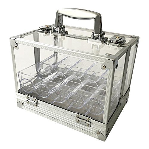 Yuanhe 600 Chip Clear Acrylic Poker Chip Locking Carrier-Includes 6 Chip Racks