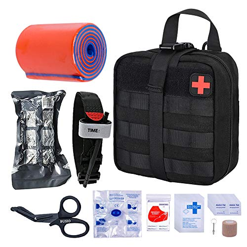 BUSIO First aid Trauma kit Tactical Bag, EMT Scissors, Tourniquet, Rail, cohesive Bandage, Israeli Bandage, Rescue Blanket Mylar, CPR mask, Survival Pipe