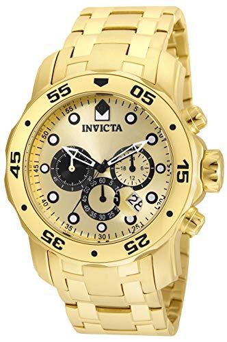 Invicta Relógio masculino de quartzo Pro Diver com pulseira de aço inoxidável, ouro, 26 (modelo: 24850)
