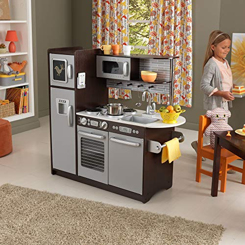 KidKraft Uptown Expresso Kitchen is a top selling play wooden kitchen for kids