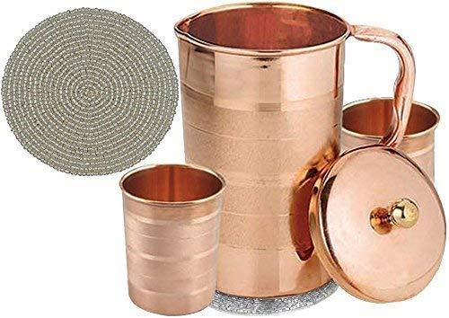 Indische reines kupfer krug mit 2 becher glas gesetzt für ayurvedische heilung, kapazität 1,6 liter