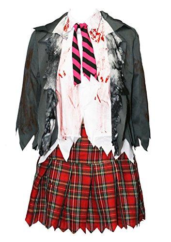 Bslingerie® Damen Zombie Schulmädchen Kostüm Set (XL, Hemd und Rock Set)