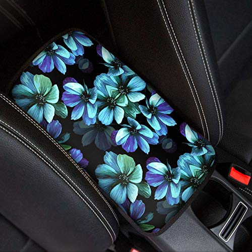 WELLFLYHOM Aqua Flower Car Armrest Seat Box Cover Protector for Women Teen Girls Custom Neoprene Center Console Armrest Cushion for Car SUV Rv Sedan Interior Accessories