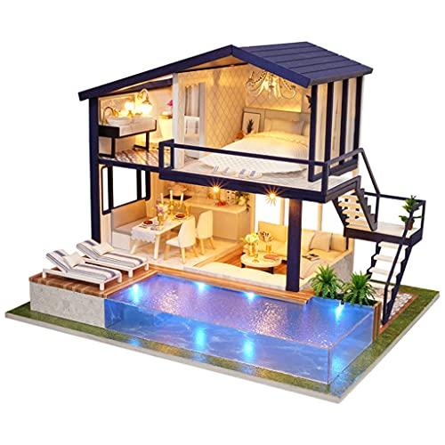 lahomia Kit de Casa de Muñecas en Miniatura con Luz LED, Casa de Madera, Modelo de Casa, Juguetes, Regalo