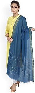 Indian Handicrfats Export SHINGORA Women Turquoise Blue Striped Dupatta