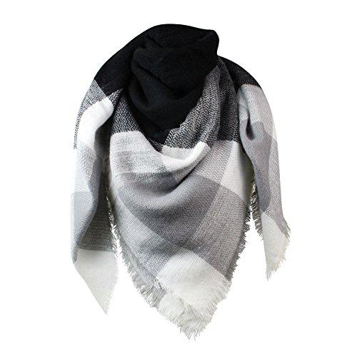 Glamexx24 XXL Schal Kuschelige, warme und wunderschöne Damen Poncho Schal mit verschiedenen Muster Schal Poncho, 01dunkelgraugrauweiss, Einheitsgröße