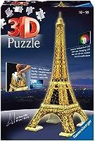 Ravensburger 12579-3D Pussel byggnader med ljus Eiffel Tower Paris - 216 bitar - tredimensionell bygglädje & inget lim...