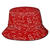 Yoliveya Sombrero de Pesca,Barbacoa Picnic Grill Mano Patrones Sin Fisuras,Senderismo para Hombres y Mujeres al Aire Libre Sombrero de Cubo Sombrero para el Sol