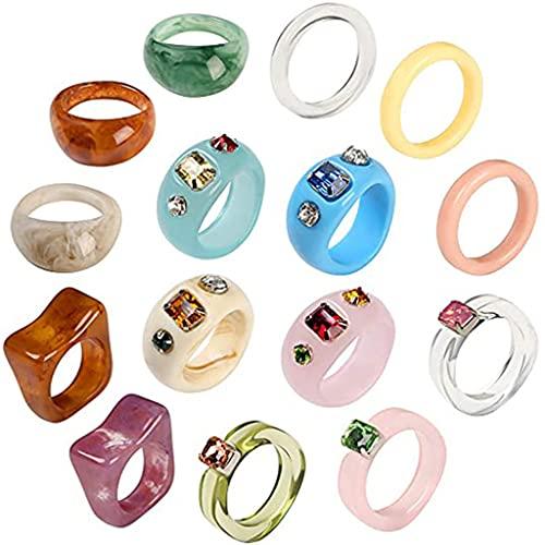 IRYNA Las mujeres de resina grueso anillos conjunto colorido acrílico retro dedo anillo cúpula apilable anillos de moda plástico Y2K anillo Jewlery Gif, 15pcs, Resina acrílica.,