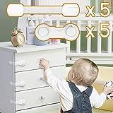 OnlyBP Cerraduras de seguridad para niños, 10 uds cierre seguridad cajones bebe, kit seguridad bebe y seguridad puertas, cajones, armarios y ventanas niños