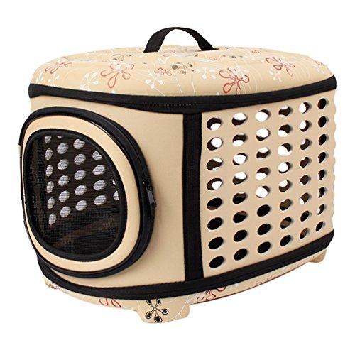 JEELINBORE Stabile Transportbox Sportlich Kleine Transporttasche Hundetasche für Tiere Katze Hunde Faltbare Haustier Tasche (Aprikose, L)