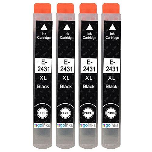 4 cartucce di inchiostro nero per sostituire Epson T2431 (24XL) compatibili/non OEM per stampanti fotografiche Epson Expression E-T2431-4