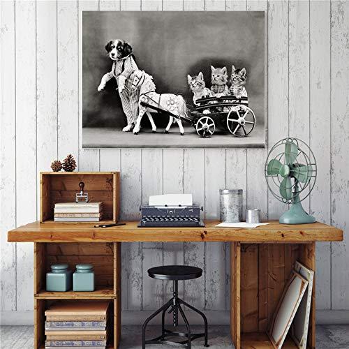 tzxdbh Hippie Kat met Zonneglas Roken Canvas Foto's voor Woonkamer Muurschildering Art Print Huisdecoratie Nordic Poster-in a Group 50x75 CM UNframed 7
