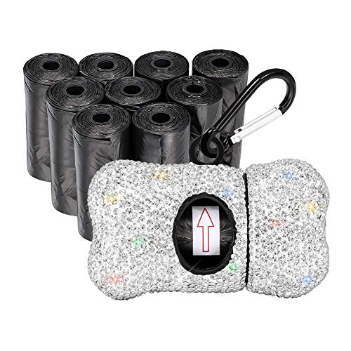 Ohok - Dispenser per sacchetti per escrementi di cani, con moschettone, con strass, con 10 rotoli (150 sacchetti) (bianco)