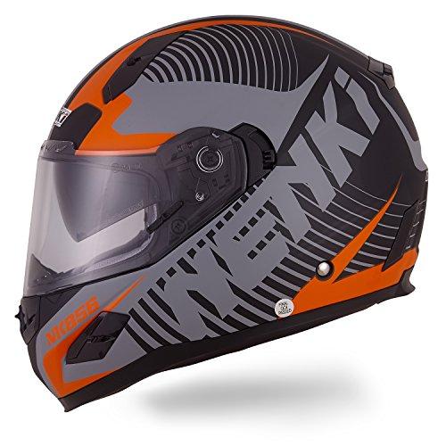 NENKI Motorradhelm Integralhelm NK-856,Rollerhelm Sturzhelm mit Doppelvisier Sonnenblende, Glasfaser Schale, ECE-geprüft (Mattschwarz Orange-S)