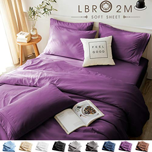 LBRO2M Bed Sheets Set King Size 6 Piece 16 Inches Deep Pocket 1800 Thread Count 100% Microfiber Sheet,Bedding Super Soft Hypoallergenic Breathable,Resistant Fade Wrinkle Cool Warm (Purple)