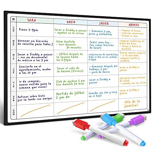 Pizarra Planificadora de Comidas y de Planes por SmartPanda - Calendario Magnético Grande Ideal para Planificar Estudios, Tareas o Dietas - Pizarra Blanca para la Nevera – Semanal, En Español