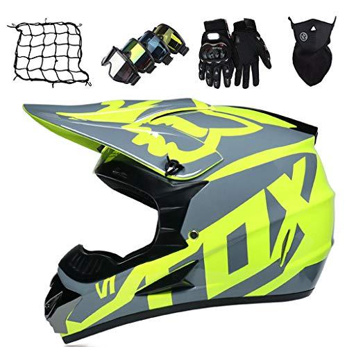 Set Casco da Motocross (Guanti/Occhiali/Maschera/Rete de Casco), Casco Cross Enduro Fuoristrada Moto Cross ATV Downhill Dirt Bike Casco Integrale MTB BMX Quad Motorbike Crash Helmet - con Design FOX