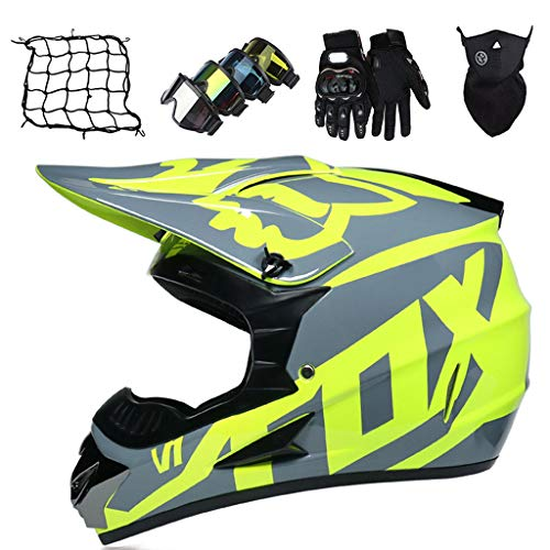 Set de Casco de Motocross (Guantes/Gafas/Máscara/Red de Casco), Casco Cruzado de Motocicleta Enduro Todoterreno ATV Downhill Dirt Bike Casco Integral MTB BMX Quad Moto Crash Casco - con Diseño FOX