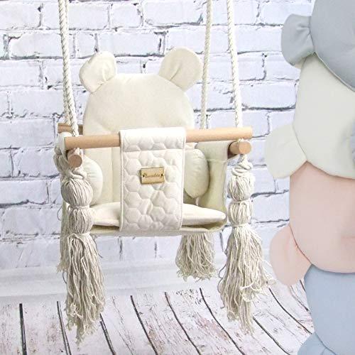 BAMBINIWELT Babyschaukel Babysitz Kinderschaukel Stoff Holz Deckenaufhängung (beige)