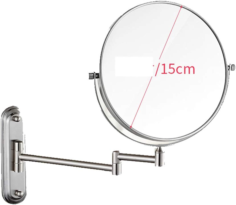 Makeup Mirror Beauty Mirror Home Beauty Mirror Hotel Mirror Wall-Mounted Mirror Folding Mirror Dressing Mirror Double-Sided Triple Magnification Mirror Bathroom Vanity Mirror,A