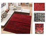Comercial Candela Alfombra de Salón Frise Pelo Largo Tupido Moderno Jaspeado Color (Rojo, 160_x_210...