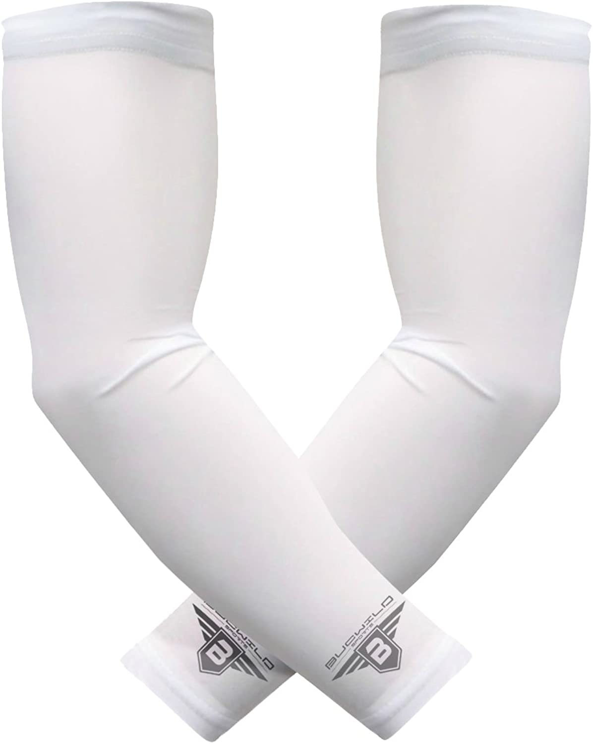 Bucwild Sports Compression Arm Sleeves 1 Pair  2 Sleeves Youth & Adult Sizes Football Baseball Basketball Cycling Tennis