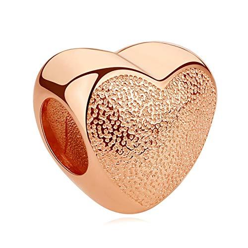 LILIANG Charm Jewelry Romántico 925 Sterling Silver Bead Charm Love Heart Rose Gold Charm Fit Original Charm Bracelet para Mujeres Fabricación De Joyas