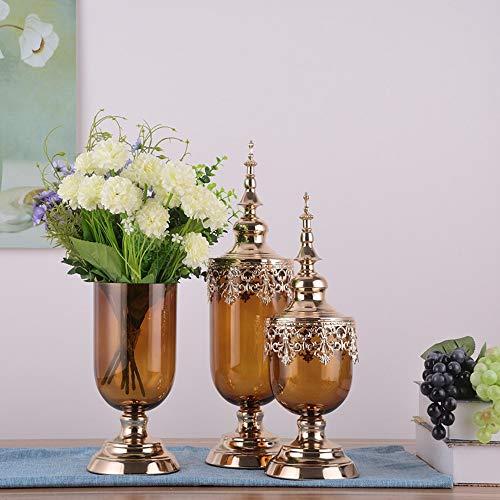Hancoc Kreative Vase Dekoration Glas Transparent Esstisch Luxus Weiche Dekoration Wohnzimmer Simulation Blumenschmuck (Color : Brown)