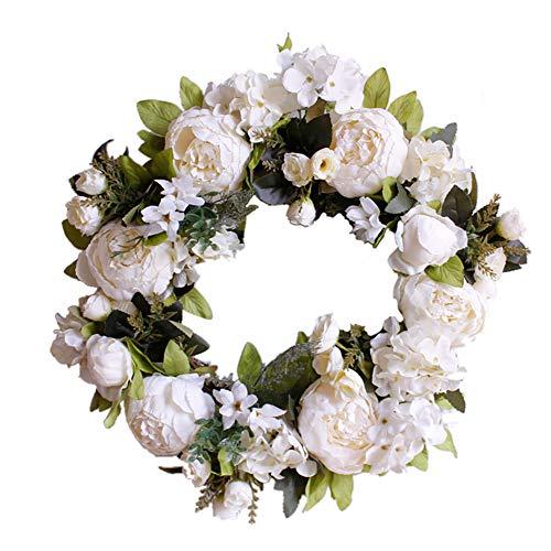 TianBao Türkranz hellt Haustür-Dekoration für Hochzeit, Geburtstag, Wohnzimmer, 1 Stück (40 cm, milchig weiße Pfingstrose)