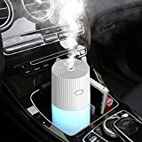 Car Diffuser Humidifiers, YJY Portable Cool Mist Humidifier for Bedroom Travel Baby, USB 300mL Auto Shut-off 7 Colors LED Light for Vehicle Home Office Desk(White)