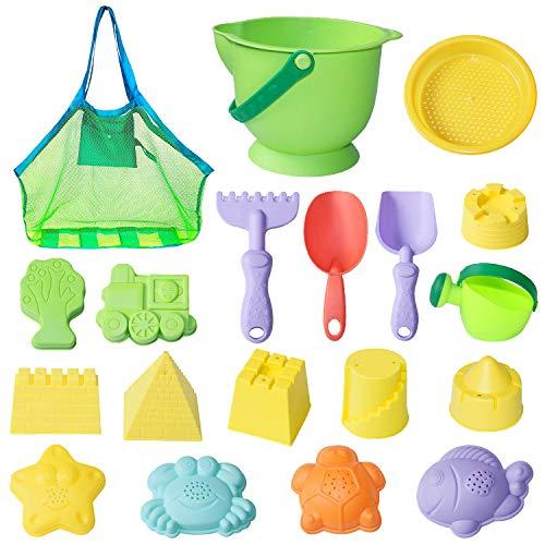 MEIGO Beach Sand Toys - Toddler Outdoor Pool Bath Play Set Soft Plastic Sandbox Toys with Models and Molds Bucket Shovel Rake Mesh Bag for Baby Kids (18pcs)