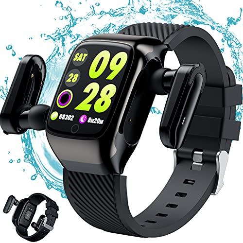 Smartwatch Relojes Inteligentes Bulit En TWS Wireless Earbud, Rastreador De Fitness IP67 Tasa De Corazon A Prueba De Agua Mornitor, 1.3'Trackers De Actividad De Pantalla con Podómetro,Negro