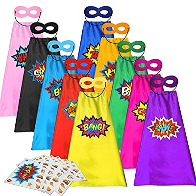 ADJOY Kids Superhero Capes and Masks with Large Superhero Stickers - Super Hero Costume for Parties - 10 Sets (20PCS)