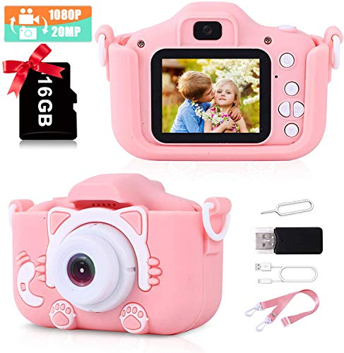Kids Camera for Girls,1080P HD Digital Video Camera for Toddler, Anti-Drop Child Camera with 2Inch Screen and 20MP Dual Lens,Best Christmas Birthday Gifts for Girls Age 3-9 [2021 Upgrade]