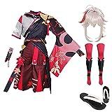 Kaedehara Kazuha Genshin Impact Cosplay, Cosplay de Anime, Conjunto Completo de Disfraces, Vestido de Anime, Vestido de Halloween para Adultos y niños + Peluca + Zapatos de Zuecos