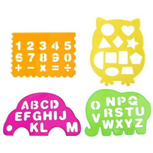 4 Uds dibujos reglas de plantillas de plástico, letras números regla de dibujo de arte geométrico juguete educativo para niños