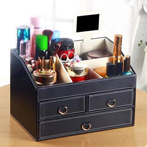 Yxsd Organisateur de Maquillage en Cuir, boîte à cosmétiques avec 3 tiroirs, pour épingles à Cheveux de Vernis à Ongles pour Vernis à Ongles de Rouge à lèvres Palettes, 11.8 x 7.9 Pouces