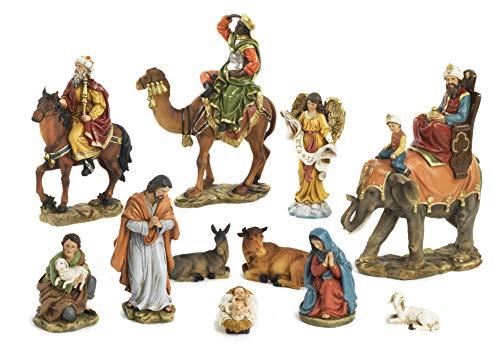 Paben Artículos Religiosi - Juego de belén de natividad completo con 11 sujetos con Rey Magi a caballo, camel, elefante de resina
