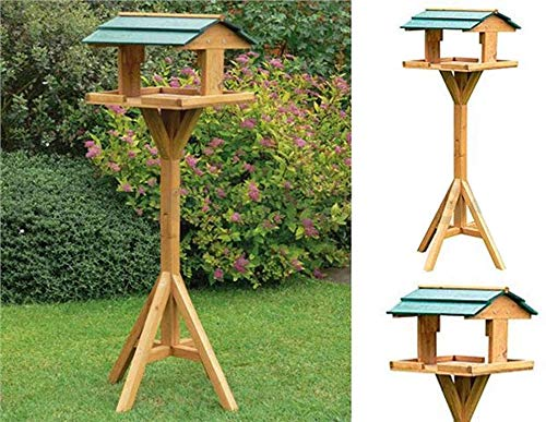 Ossian Traditional Wooden Bird Table Freestanding Outdoor Home Garden Feeding House Station Perch Décor Decoration Durable Natural Wood Furniture - Easy to Assemble – No Tools Required
