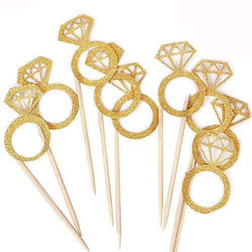 Kakasogo 50PCS Newest Wedding Bridal Shower Gold Glitter Diamond Ring Cupcake Cake Topper Picks for Marriage Engagement AnniversaryBirthday ValentinesParty CakeDecor