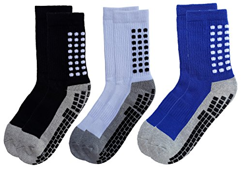 RATIVE Anti Slip Non Skid Slipper Hospital Crew Socks with grips for Adults Men Women (Medium, 3 pairs-assorted)