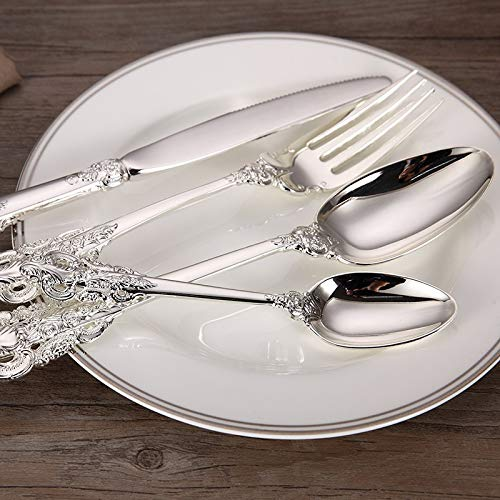 Luxury Silver Dinnerware Set-Silver Plated Dinnerware Set-Silver Plated Stainless Steel Cutlery Set- Wedding Tableware Set-Dining Knife Fork Tablespoon-Kitchen Accessories and Decor