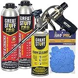 AWF PRO Gaps and Cracks Kit - Great Stuff Pro Gaps and Cracks Polyurethane Foam Sealant 30 oz (2) - AWF Pro Foam Gun (1) - Great Stuff Pro Foam Gun Cleaner (1), Gloves (1) - Closed Cell Expanding Foam