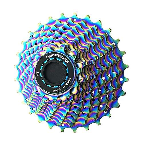 Ybqy Piñon Bicicleta Camino de la Bici de Casete 11 11-28T Velocidad del Arco Iris de la Bici Rueda Rueda Dentada del Volante Ultraligero 11V (Color : Blue)