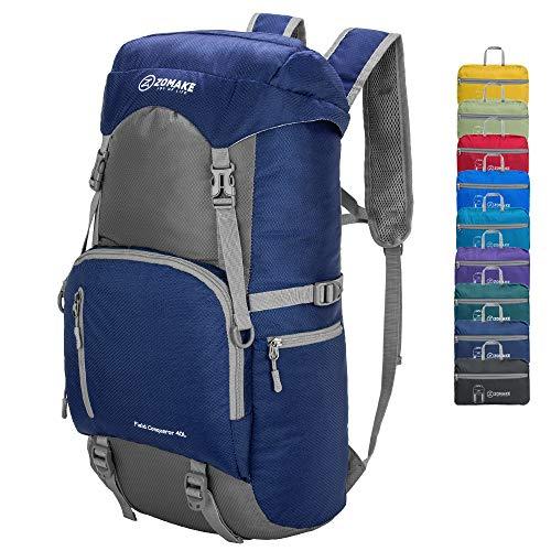 ZOMAKE 40L Wasserdichter Ultraleicht Faltbarer Trekkingrucksack Daypack Damen Herren für Outdoor Wandern Camping Reisen (Marineblau)