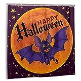 goodsaleA Cortina de baño,murciélago Vampiro de Dibujos Animados sobre Fondo de Luna Llena.Texto Feliz HalloweenSet de decoración de baño de Tela con Ganchos 150cmx180cm
